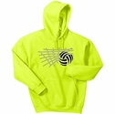 Volleyball Net & Ball Design Hooded Sweatshirt - in 20 Hoodie Colors