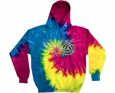 Volleyball Net & Ball Design Tie Dye Hooded Sweatshirt - in 6 Hoodie Colors
