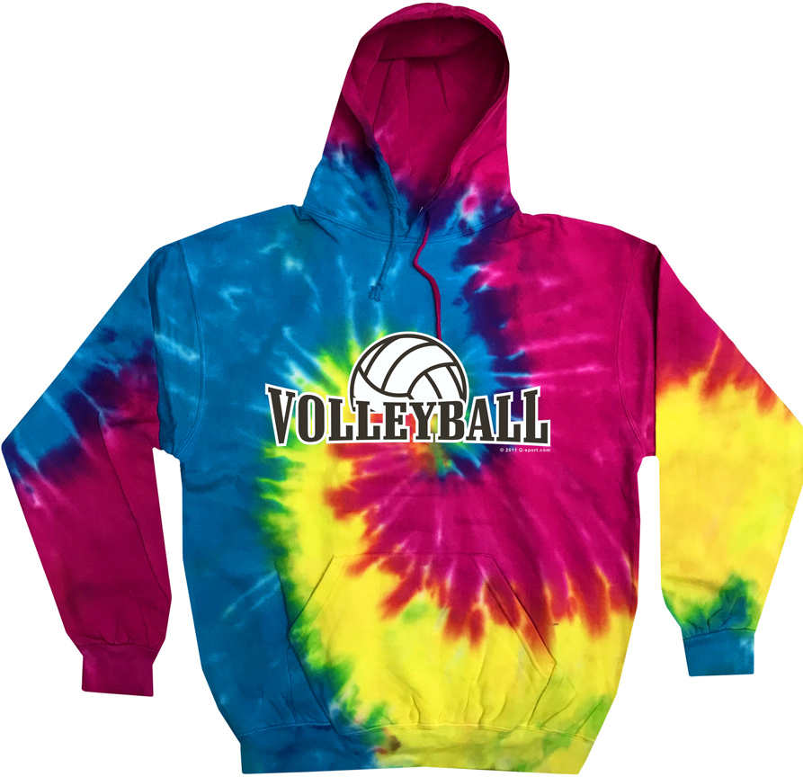 01f051e32 Volleyball Rising Design Tie-Dye Hooded Sweatshirts in Choice of 6 Hoodie  Colors