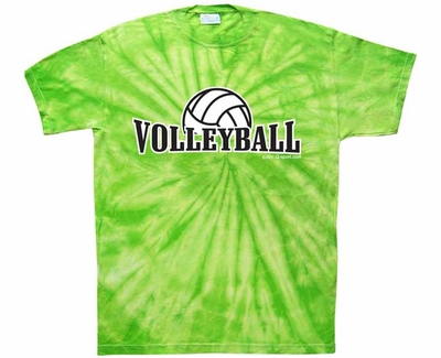 Volleyball Rising Design Tie-Dye Tee - in 15 Shirt Colors