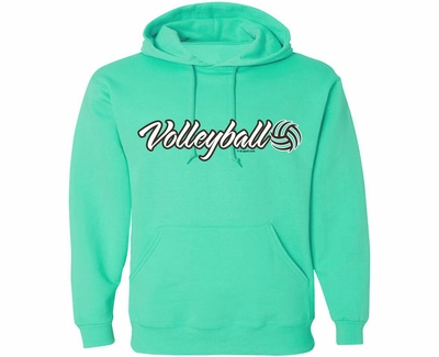 Volleyball Sarah Script Hooded Sweatshirt - in 20 Hoodie Colors