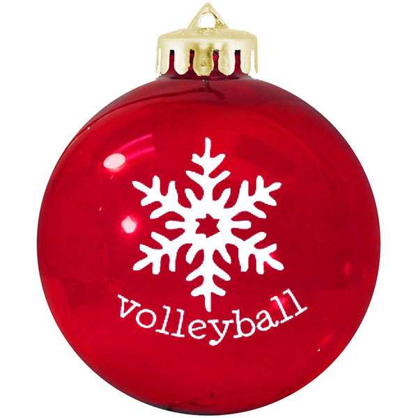 Volleyball Snowflake Holiday Glass Tree Ornaments