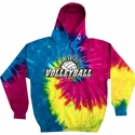 Volleyball Splatter Design Tie Dye Hooded Sweatshirt - in 4 Hoodie Colors