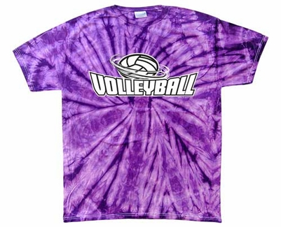 Volleyball Swirl Design Tie-Dye Tee - in 15 Shirt Colors