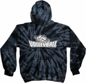 Volleyball Swirl Design Tie Dye Hooded Sweatshirt - in 4 Hoodie Colors