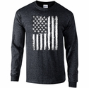 Volleyball USA Flag Design Dark Heather Long Sleeve Shirt
