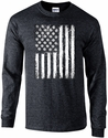 Volleyball USA Flag Design Black Heather Long Sleeve Shirt