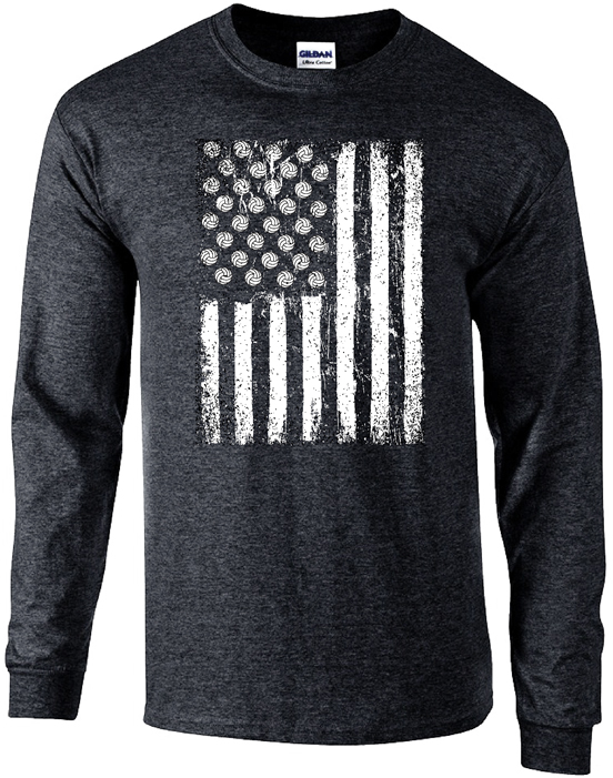 New USA Flag Volleyball Graphic Black Heather Long Sleeve Shirts  TD09