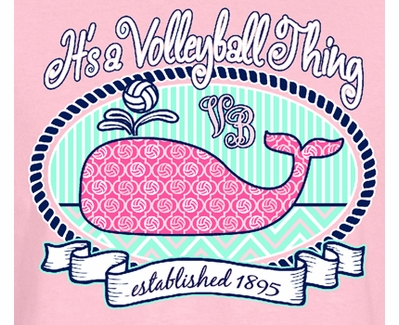 Volleyball Whale Design Light Pink Long Sleeve Shirt