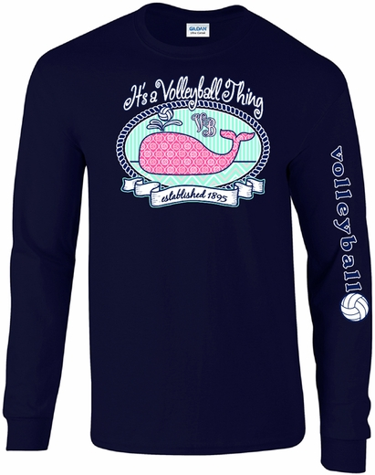 Volleyball Whale Design Navy Blue Long Sleeve Shirt