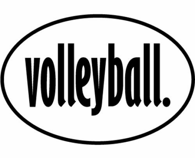 White & Black Volleyball Word Oval Decal