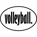 White & Black Volleyball Word Oval Magnets
