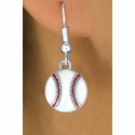 White Baseball Fishhook Earrings