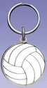 White Enamel Volleyball Keychain