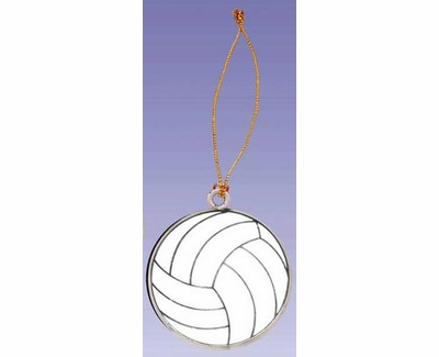 White Enamel Volleyball Tree Ornament