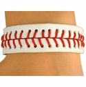 White Leather Baseball Bracelet w/ Stitching