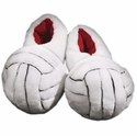 White Plush Volleyball Slippers