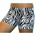 "Black & White Zebra Stripe 2.5"" inseam Spandex Shorts"