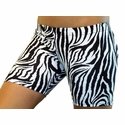 "Black & White Zebra Stripe 4"" inseam Spandex Shorts"