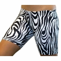 "Black & White Zebra Stripe 6"" inseam Spandex Shorts"
