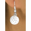 White Volleyball Fishhook Earrings