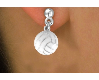 White Volleyball Hanging Post Earrings