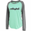 Women's Mint Green Jersey Raglan Long Sleeve Volleyball Shirt