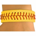 Yellow Leather Softball Bracelet w/ Stitching