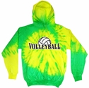 Yellow & Lime Green Tie-Dye Hooded Sweatshirt - Choice of 6 Volleyball Designs