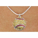 Yellow Multi-Crystal Softball Charm Necklace