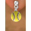 Yellow Softball Hanging Post Earrings