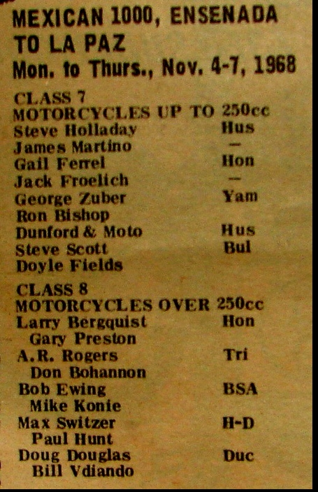 1968 MEXICAN 1000 RESULTS