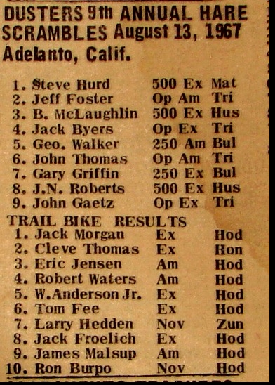 DUSTER'S MC. RESULTS 1967