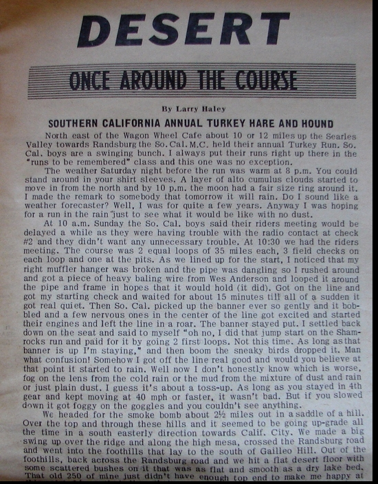 LARRY HALEY - AROUND THE COURSE- SO CAL TURKEY RUN PART 1