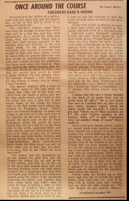 LARRY HALEY CHECKCHASE 1966 PAGE 1