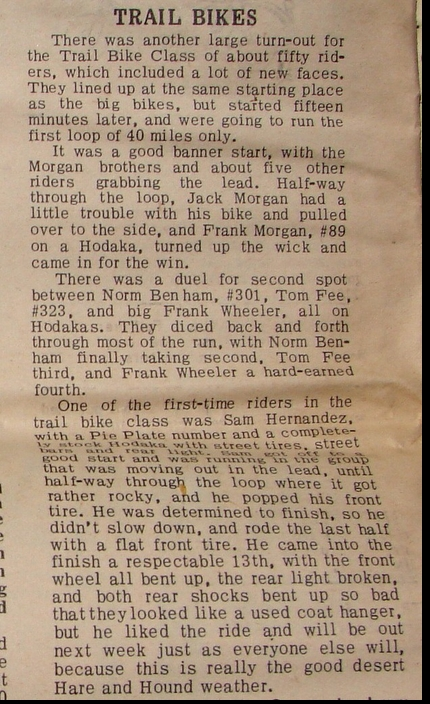 RAMS 1966 TRAILBIKE RESULTS