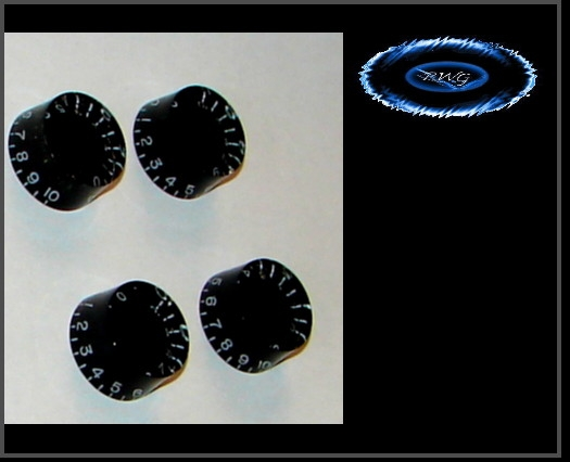 4 Black Speed Knobs - Smooth