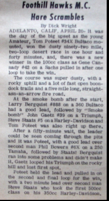 TOM POTEET'S FIRST WIN ARTICAL