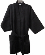 "36"" Length Cotton Waffle Robe,Black"