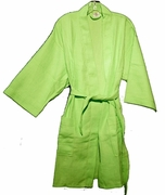 "36"" Length Cotton Waffle Robe, Lime"