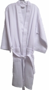 "36"" Length Cotton Waffle Robe, White"
