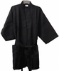 "48"" Length  Cotton Waffle Unisex Robe  Black"