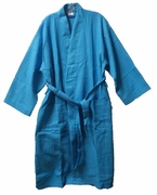 "48"" Length Cotton Waffle Robe Tropical Blue"