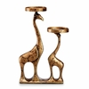 Abstract Giraffe Pair Pillar Candleholder