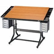 Alvin  CraftMaster II Deluxe Art, Drawing and Hobby Table Black Base with Cherry Woodgrain Top