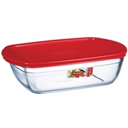 Arcuisine Borosilicate Glass Rectangular Dish  with Plastic Lid 11X8X3  88 oz.