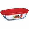 "Arcuisine Borosilicate Glass Rectangular Dish with Plastic Lid 7""x4""x2"" 11.8 oz."