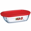 Arcuisine Borosilicate Glass Rectangular Dish with Plastic Lid 9.5X6X2.5  37.2 oz
