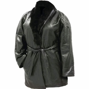 Ariell Italian Stone Design Genuine Lambskin Leather Ladies Coat with Genuine Rabbit Fur Collar