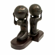 Atlas with Globe Bookends